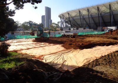Photo of construction taking place at Sydney Football Stadium